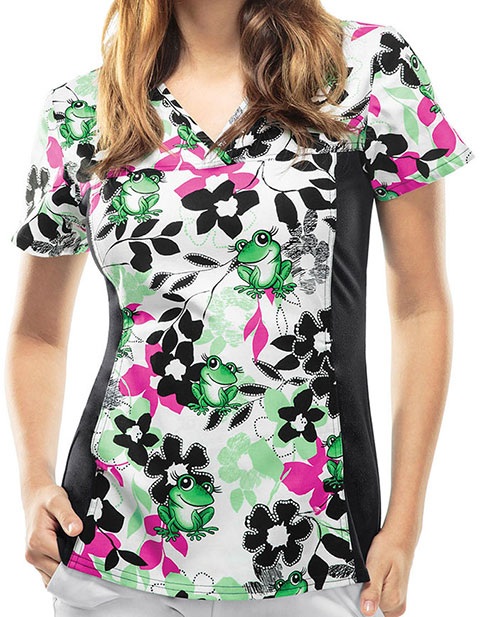 Cherokee Escape Into Nature Women's Toadally In Bloom V-Neck Knit Panel Top
