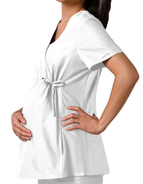 Cherokee White Flex-I-Bles Maternity Wrap Nursing Scrub Top
