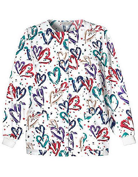 Cherokee Women Jewel Neck Snap Front Heartbeat Printed Scrub Jacket
