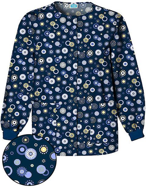 Cherokee Womens Three Pocket Dot's Wonderful Scrub Jacket