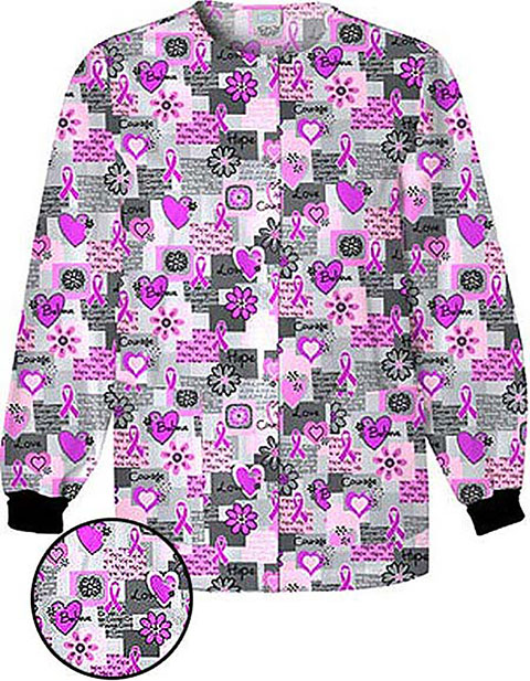 Cherokee HQ Women Jewel Neck Words of Love Print Scrub Jacket