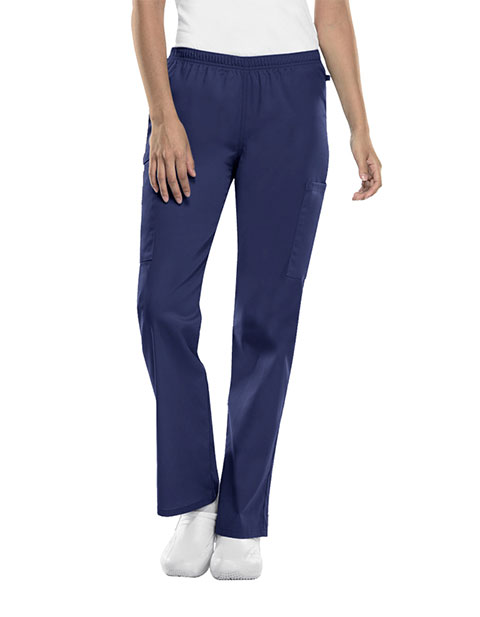Cherokee Workwear WW Flex Women's Petite Mid Rise Straight Leg Elastic Waist Pant