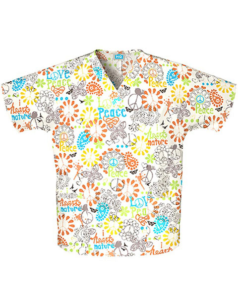 Cherokee HQ Women V-Neck Peace, Love & Paisley Print Scrub Top