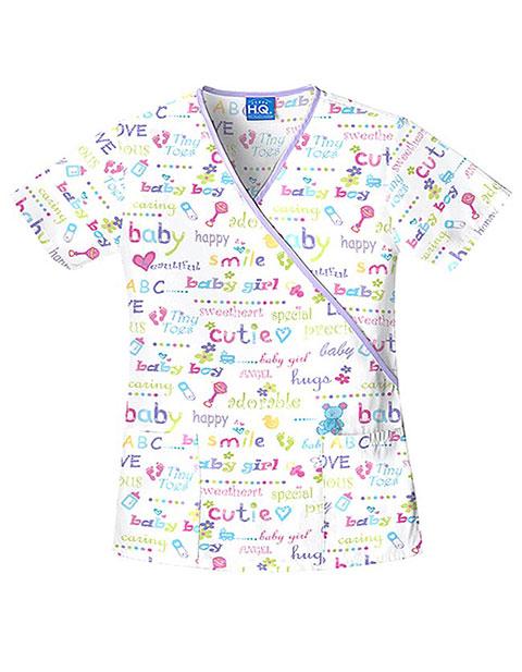 Buy Cherokee Hq Womens Mock Wrap Baby Love Print Nurses