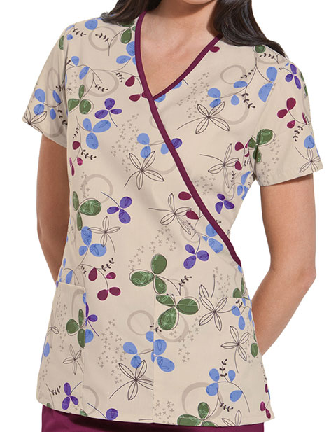Cherokee HQ Womens Mock Wrap Clover Park Top