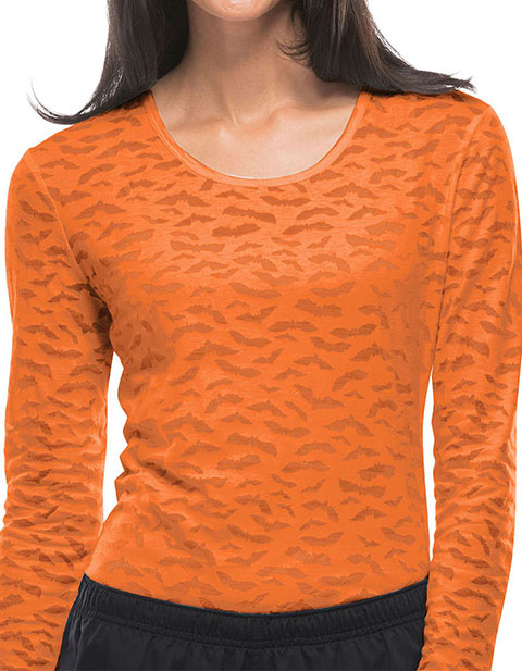 Dickies Women's Halloween Bats Long Sleeve Underscrub Printed Knit Tee