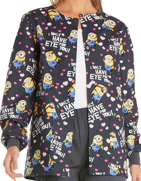 Cherokee Tooniforms Women's Eye for You Printed Snap Front Warm-Up Scrub Jacket