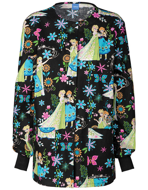 Tooniforms Disney Women's Frozen Fever Snap Front Warm-Up Jacket