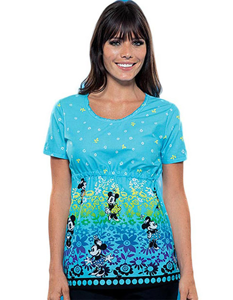 Office 365 Cherokee >> Buy Disney Women Round Neck Minnie Meadow Print Scrub Top for $15.95