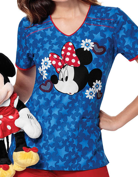 Tooniforms Disney Women's Minnie Americana V-Neck Top