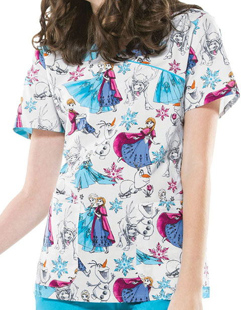 Cherokee Women's Frozen Party Printed Mock Wrap Scrub Top