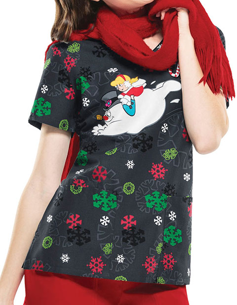 Cherokee Women's Jolly Frosty Fun Printed V-Neck Scrub Top