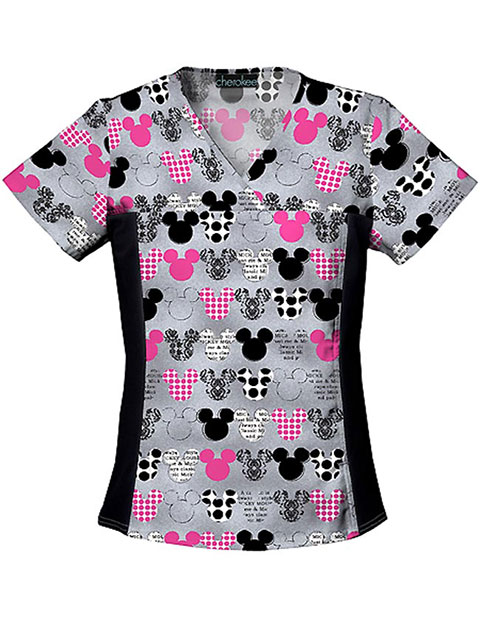 Disney Women Two Pocket V-Neck Mickey Scrub Top