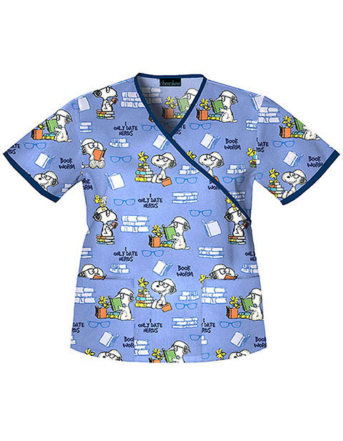 Tooniforms Womens Mock Wrap Book Worm Snoopy Print Scrub Top