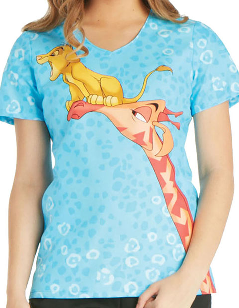 Cherokee Tooniforms Disney Womens Future King Printed V-Neck Scrub Top