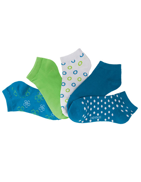 Cherokee Women's 6-5pr Packs Assorted Blue Dazzle No Show Socks