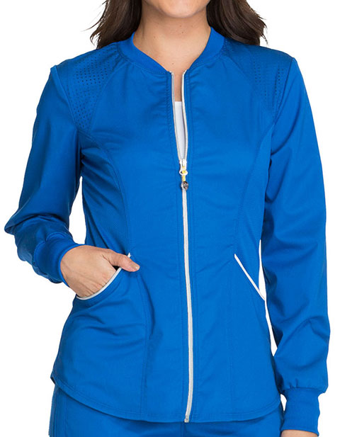 Cherokee Luxe Sport Womens Crew Neck Zip Front Warm-up Solid Scrub Jacket