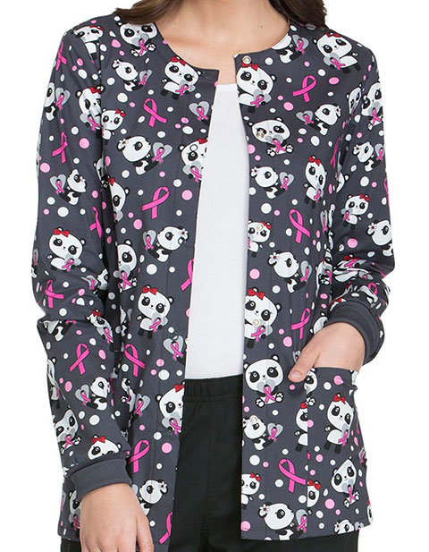 Cherokee Genuine Womens Beary Caring Print Snap Front Warm-up Jacket
