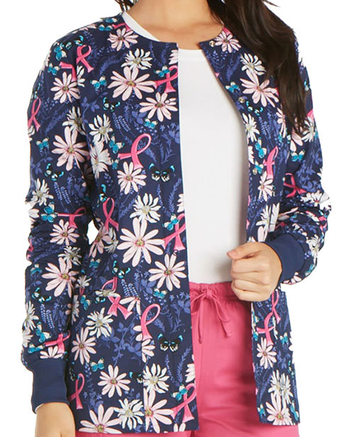 Cherokee Genuine Women's Flight For The Cure Snap Front Warm-up Jacket