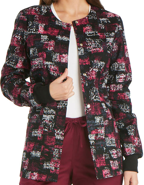 Cherokee Genuine Women's Pop Blocks Already Snap Front Warm-up Jacket