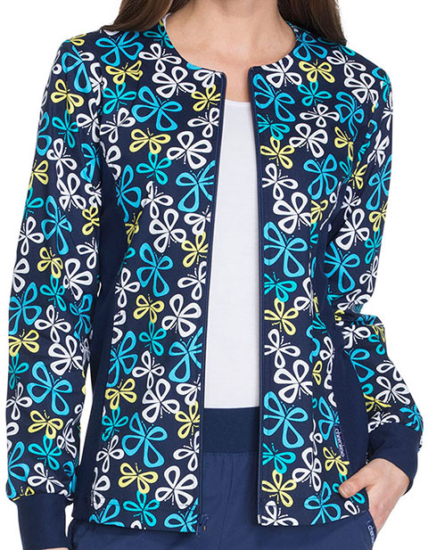 Cherokee Summer Blues Women's Zip Front Knit Panel Warm-Up Jacket