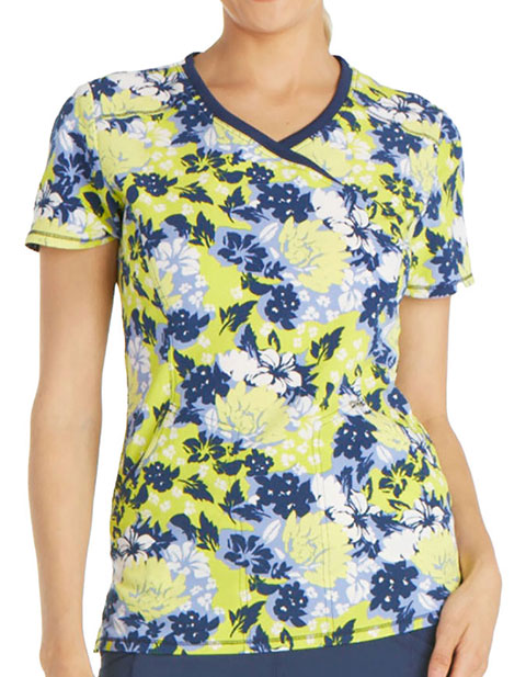 Cherokee Island Adventure Women's Just Go Floral It Mockwrap Scrub Top