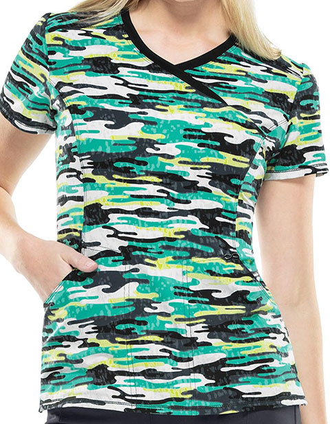 Cherokee Paradise Jungle Women's Camo Kind Of Love Mockwrap Scrub Top
