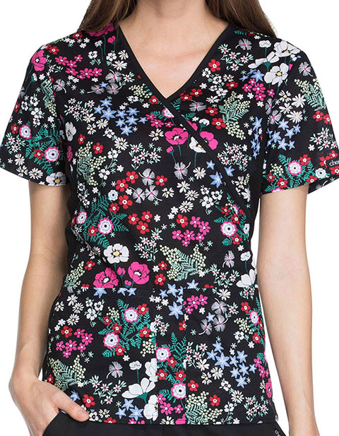 Cherokee Love Is Blooming Women's Blooming Botanicals Print Mock Wrap Knit Panel Top