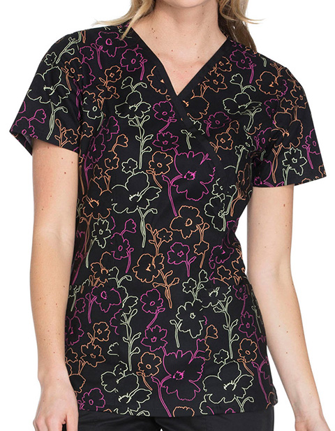 Cherokee Genuine Womens Floral In The Dark Mock Wrap Top