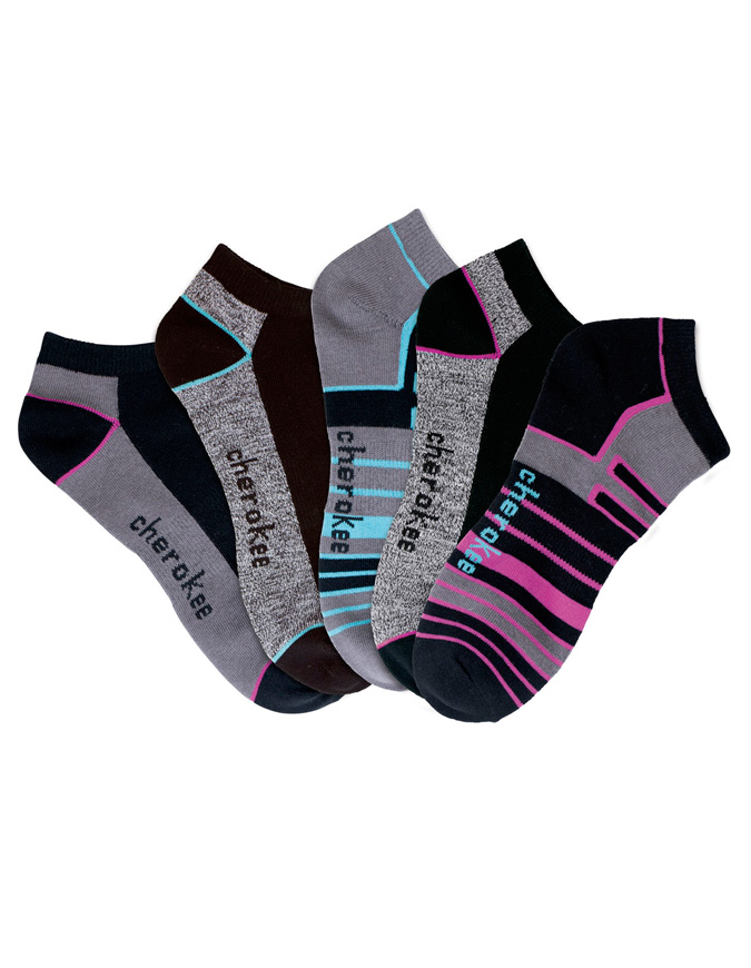 Cherokee Womens Assorted 6-5 pr packs of No Show Socks