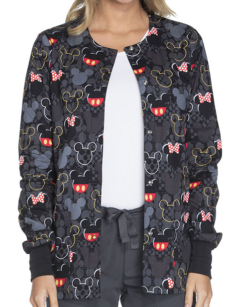Tooniforms Disney Womens Buttons And Bows Print Snap Front Warm-Up Jacket