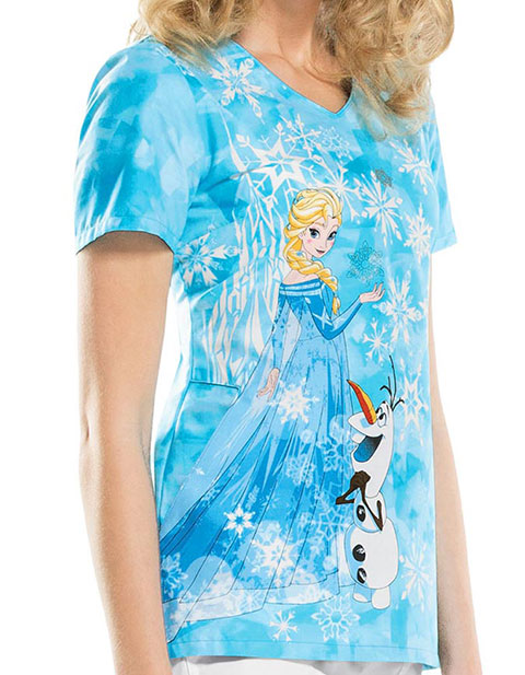 Tooniforms Winter Women's Ice Queen Frozen Print Scrub Top