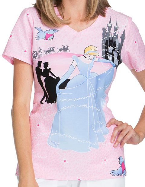 Tooniforms Disney Women's Before Midnight Print V-Neck Top