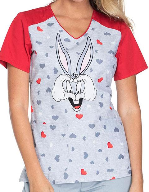 Tooniforms Women's Bugs Hearts U Print V-Neck Top