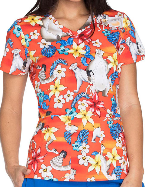 Tooniforms Disney Women's Jungle Friends Print V-Neck Top