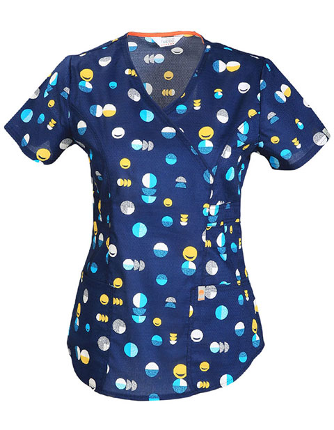 Code Happy Women's Love Dot Smile Printed Mock Wrap V-Neck Scrub Top