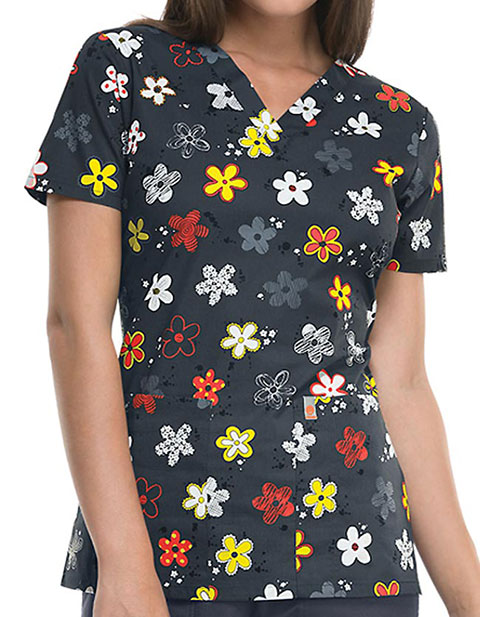 Code Happy Women's Doodling Daisies V-Neck Top