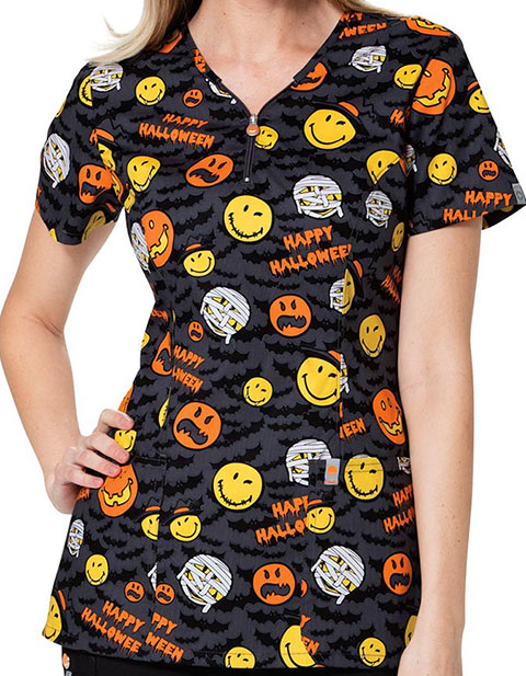 Code Happy Smiley World Women's Antimicrobial Halloween Printed Top