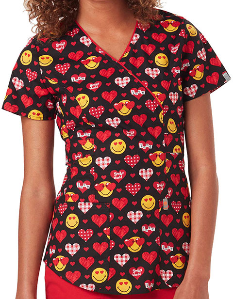 Code Happy Love To Smile Women's Valentine's Day Mockwrap Top