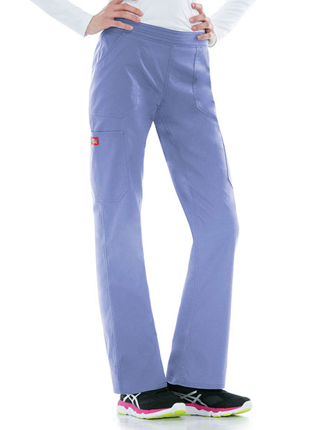 Dickies EDS Signature Stretch Women's Mid Rise Moderate Flare Leg Pull on Petite Pant