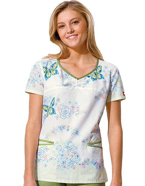 Dickies GenFlex Junior Fit Shaped V Neck Garden Mix Printed Scrub Top