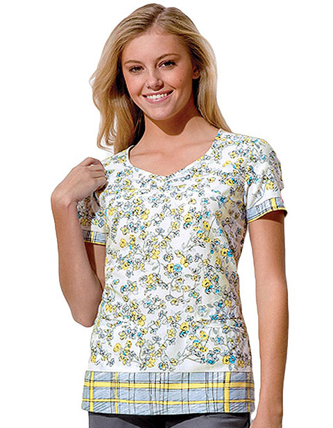 Dickies GenFlex Junior Fit V-Neck You Had Me at Yellow Print Scrub Top