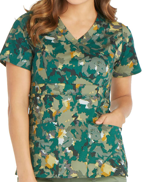 Dickies Women's Over And Out Mock Wrap V-Neck Scrub Top