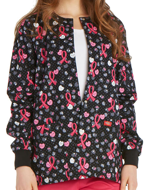 Dickies Women's Love Is The Cure Printed Snap Front Warm-Up Scrub Jacket