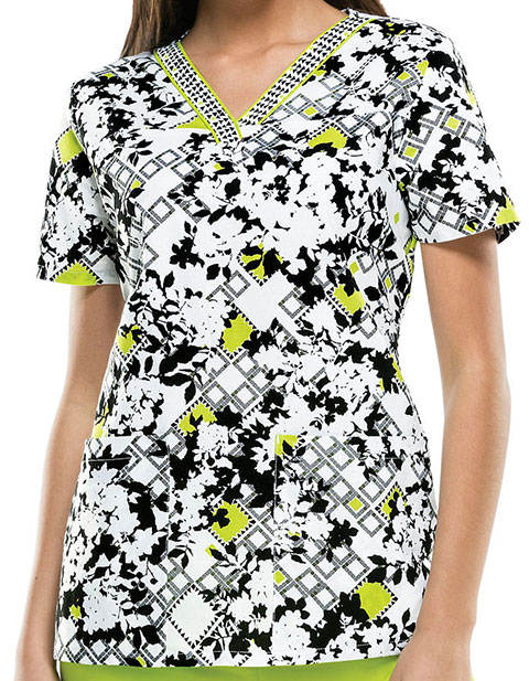 Dickies EDS Women's Bloomy Days Ahead Printed V-Neck Scrub Top