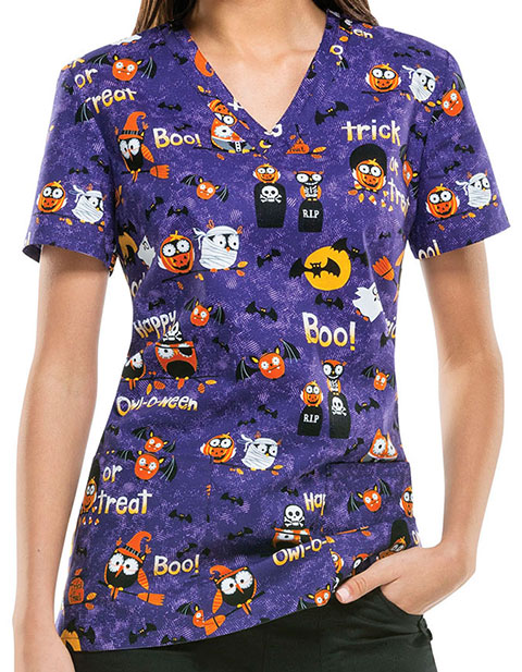 Dickies EDS Halloween Women's Happy Owl-o-ween Print Top