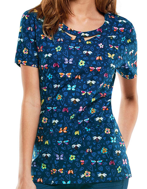 Dickies EDS Women's Quit Buggin' Me Printed Round Neck Scrub Top