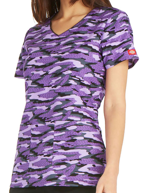 Dickies EDS Women's Get Back In Line V-Neck Printed Top