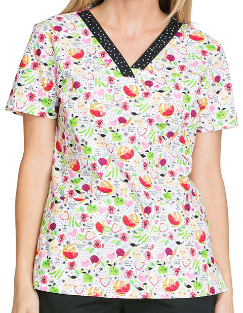 Dickies Everyday Scrubs Signature Women's Nuts About Nutrition Printed V-Neck Scrub Top