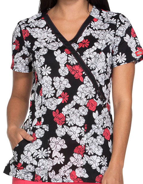 Dickies Happy As Can Bee Women's Lace Bouquet Mock Wrap Top